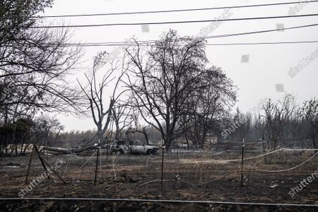 A general view of the aftermath of the Almeda Fire. The town of Phoenix, Oregon, showing the burned out homes, cars and rubble left behind. In Phoenix, about 20 miles north of the California border, homes were charred beyond recognition. Across the western US, at least 87 wildfires are burning, according to the National Interagency Fire Center. They've torched more than 4.7 million acres -- more than six times the area of Rhode Island.