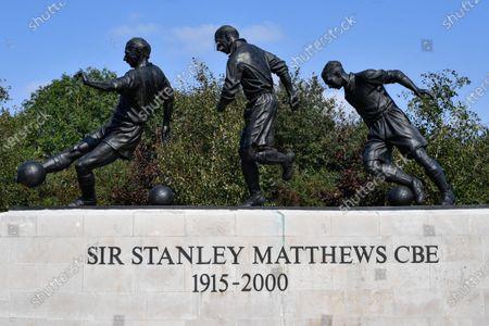 The Sir Stanley Matthews CBE statue outside the Bet365 Stadium