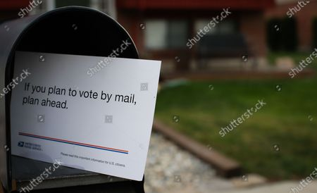 Stock Image of USPS sent to the wrong mail-in voting information notice to all Utahns. In Utah, all registered voters automatically receive their mail-in ballots in the mail and do not need to request one. A mailbox is seen with the notice sent to all residents in Utah on September 18, 2020