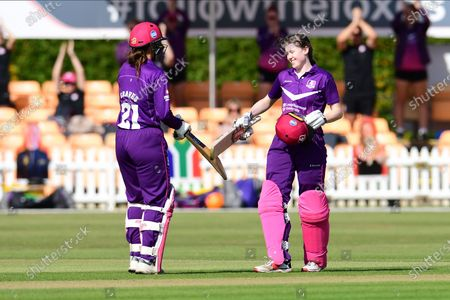 Sarah Bryce of Lightning celebrates her century during the Rachael Heyhoe Flint Trophy match between Loughborough Lightning and Central Sparks at the Fischer County Ground, Grace Road, Leicester
