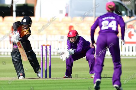 Gwenan Davies of Central Sparks during the Rachael Heyhoe Flint Trophy match between Loughborough Lightning and Central Sparks at the Fischer County Ground, Grace Road, Leicester