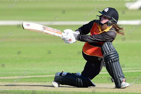 Stock Image of Gwenan Davies of Central Sparks during the Rachael Heyhoe Flint Trophy match between Loughborough Lightning and Central Sparks at the Fischer County Ground, Grace Road, Leicester