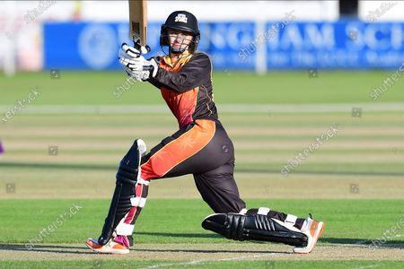 Stock Photo of Chloe Hill of Central Sparks during the Rachael Heyhoe Flint Trophy match between Loughborough Lightning and Central Sparks at the Fischer County Ground, Grace Road, Leicester