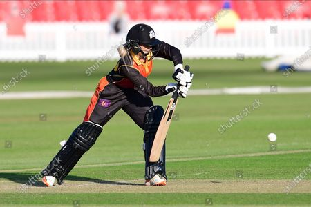 Chloe Hill of Central Sparks during the Rachael Heyhoe Flint Trophy match between Loughborough Lightning and Central Sparks at the Fischer County Ground, Grace Road, Leicester