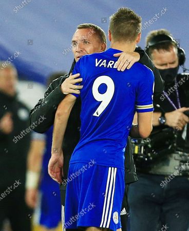 Leicester City manager Brendan Rogers hugs Jamie Vardy at the end of the game