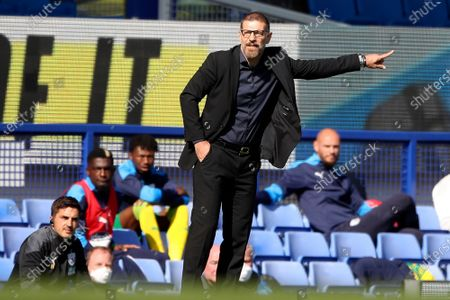 West Bromwich Albion's manager Slaven Bilic gestures during the English Premier League soccer match between Everton and West Bromwich Albion at Goodison Park in Liverpool, England