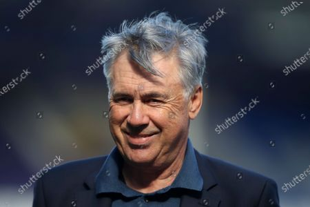 Everton's manager Carlo Ancelotti talks to journalists at the end of the English Premier League soccer match between Everton and West Bromwich Albion at Goodison Park in Liverpool, England . Everton won 5-2
