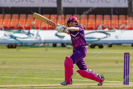 100 - Sarah Bryce goes to 100 during the Rachael Heyhoe Flint Trophy match between Loughborough Lightning and Central Sparks at the Fischer County Ground, Grace Road, Leicester