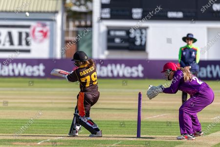 Gwenan Davies batting during the Rachael Heyhoe Flint Trophy match between Loughborough Lightning and Central Sparks at the Fischer County Ground, Grace Road, Leicester