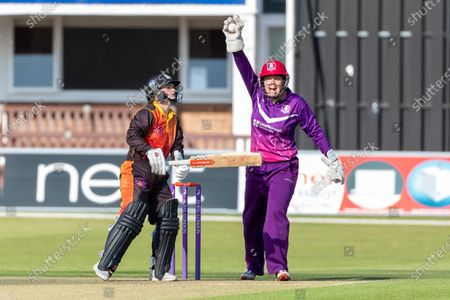 WICKET - Gwenan Davies is caught behind by Abbey Freeborn (wkt) during the Rachael Heyhoe Flint Trophy match between Loughborough Lightning and Central Sparks at the Fischer County Ground, Grace Road, Leicester