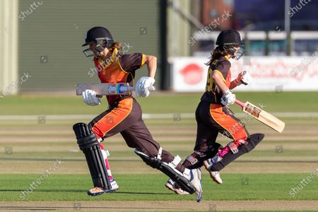 Stock Picture of Evelyn Jones & Poppy Davies during the Rachael Heyhoe Flint Trophy match between Loughborough Lightning and Central Sparks at the Fischer County Ground, Grace Road, Leicester