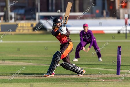 Chloe Hill batting during the Rachael Heyhoe Flint Trophy match between Loughborough Lightning and Central Sparks at the Fischer County Ground, Grace Road, Leicester