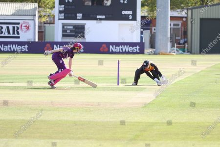 Sarah Bryce makes her ground as Gwenan Davies gathers during the Rachael Heyhoe Flint Trophy match between Loughborough Lightning and Central Sparks at the Fischer County Ground, Grace Road, Leicester