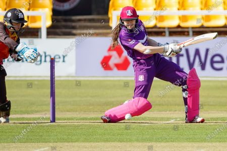 Sarah Bryce drives during the Rachael Heyhoe Flint Trophy match between Loughborough Lightning and Central Sparks at the Fischer County Ground, Grace Road, Leicester