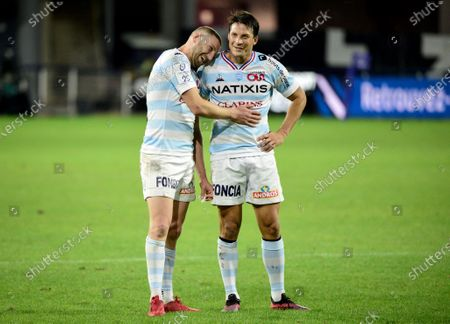 ASM Clermont Auvergne vs Racing 92. Racing's Finn Russell and Francois Trinh-Duc celebrate after the game