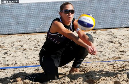 Stock Picture of Marta Menegatti of Italy in action during the women's third round match with compatriot Viktoria Orsi Toth against Nadezda Makroguzova and Svetlana Kholomina of Russia at the 2020 CEV Beach Volleyball European Championships in Jurmala, Latvia, 19 September 2020.