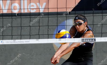 Stock Photo of Marta Menegatti of Italy in action during the women's third round match with compatriot Viktoria Orsi Toth against Nadezda Makroguzova and Svetlana Kholomina of Russia at the 2020 CEV Beach Volleyball European Championships in Jurmala, Latvia, 19 September 2020.
