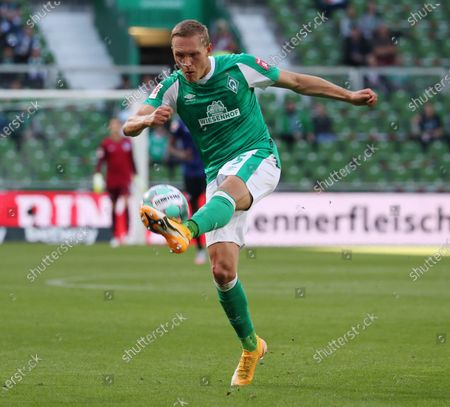 Stock Photo of Bremen's Ludwig Augustinsson in action during the German Bundesliga soccer match between SV Werder Bremen and Hertha BSC Berlin in Bremen, Germany, 19 September 2020.