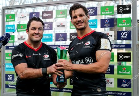 Leinster vs Saracens. Saracens' Brad Barritt presents Mike Rhodes with the EPCR Star of the Match Award