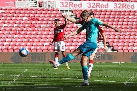 AFC Bournemouth midfielder David Brooks (7) shoots over th bar during the EFL Sky Bet Championship match between Middlesbrough and Bournemouth at the Riverside Stadium, Middlesbrough