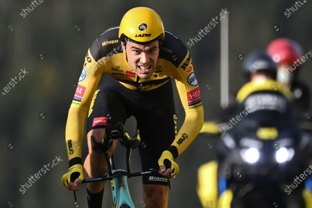 Netherland's Tom Dumoulin competes during stage 20 of the Tour de France cycling race, an individual time trial over 36.2 kilometers (22.5 miles), from Lure to La Planche des Belles Filles, France