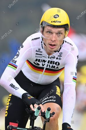German Tony Martin finishes stage 20 of the Tour de France cycling race, an individual time trial over 36.2 kilometers (22.5 miles), from Lure to La Planche des Belles Filles, France