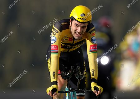 Netherland's Tom Dumoulin crosses the finish line of stage 20 of the Tour de France cycling race, an individual time trial over 36.2 kilometers (22.5 miles), from Lure to La Planche des Belles Filles, France
