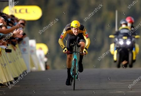 Dutch rider Tom Dumoulin of Team Jumbo-Visma wearing the best climber's polka-dot jersey reaches the finish line of the 20th stage of the Tour de France cycling race, a 36.2km individual time trial from Lure to La Planche des Belles Filles, France, 19 September 2020.