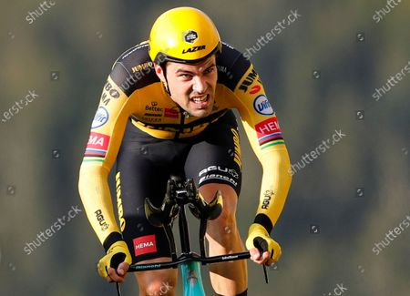 Stock Photo of Dutch rider Tom Dumoulin of Team Jumbo-Visma reaches the finish line of the 20th stage of the Tour de France cycling race, a 36.2km individual time trial from Lure to La Planche des Belles Filles, France, 19 September 2020.
