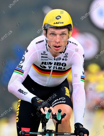 German rider Tony Martin of Team Jumbo-Visma reaches the finish line of the 20th stage of the Tour de France cycling race, a 36.2km individual time trial from Lure to La Planche des Belles Filles, France, 19 September 2020.