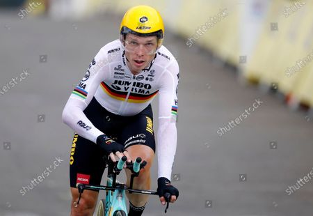 Stock Picture of German rider Tony Martin of Team Jumbo-Visma reaches the finish line of the 20th stage of the Tour de France cycling race, a 36.2km individual time trial from Lure to La Planche des Belles Filles, France, 19 September 2020.