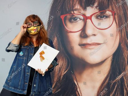 Stock Image of Isabel Coixet poses after receiving the National Film Prize for 2020 at the 68th annual San Sebastian International Film Festival (SSIFF), in San Sebastian, Spain, 19 September 2020. The film festival will run from 18 to 26 September 2020 under safety measures like obligatory face mask use and red carpets without public due to the Covid-19 coronavirus pandemic. Organizers have also reduced the number of film screenings as well as the seating capacity in cinemas.