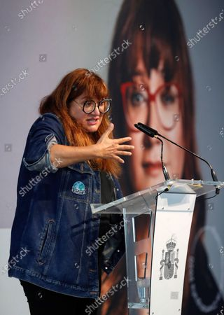 Stock Photo of Isabel Coixet speaks after receiving the National Film Prize for 2020 at the 68th annual San Sebastian International Film Festival (SSIFF), in San Sebastian, Spain, 19 September 2020. The film festival will run from 18 to 26 September 2020 under safety measures like obligatory face mask use and red carpets without public due to the Covid-19 coronavirus pandemic. Organizers have also reduced the number of film screenings as well as the seating capacity in cinemas.