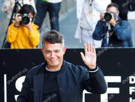 Alejandro Sanz poses upon arrival to the hotel where the guests are lodged during 68th San Sebastian International Film Festival (SSIFF) in San Sebastian city, Basque country, northern Spain, 19 September 2020. The film festival will run from 18 to 26 September 2020 under safety measures like obligatory face mask use and red carpets without public due to the Covid-19 coronavirus pandemic. Organizers have also reduced the number of film screenings as well as the seating capacity in cinemas.