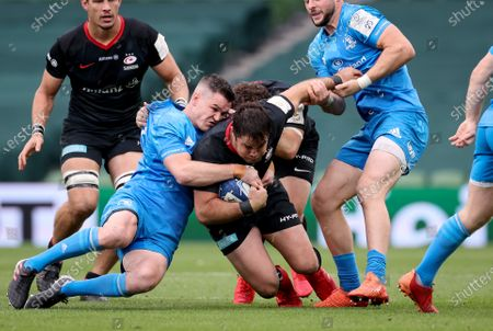 Leinster vs Saracens. Saracens' Brad Barritt is tackled by Johnny Sexton of Leinster