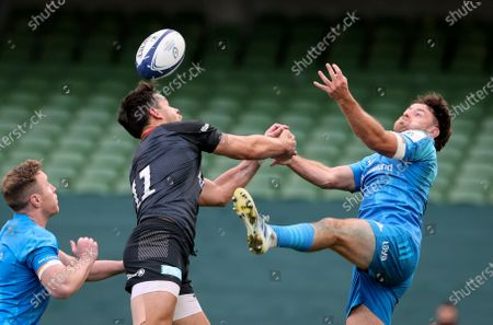 Leinster vs Saracens. Saracens' Sean Maitland competes in the air with Hugo Keenan of Leinster