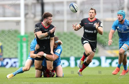 Alex Goode takes a pass from Duncan Taylor to score the opening Try of the game for Saracens