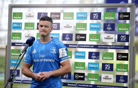 Jonny Sexton of Leinster interviewed after the game