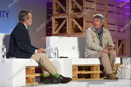 French writer Eric Vuillard (R) and IE Business School President Diego del Alcazar (L) onstage during the Hay Festival in Segovia, Spain, 19 September 2020. The event runs from 17 to 20 September 2020.