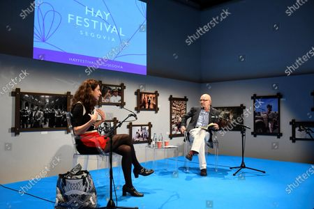 Spanish writer and poet Ana Merino (L) and journalist Jesus Vigorra (R) onstage during the Hay Festival in Segovia, Spain, 19 September 2020. The event runs from 17 to 20 September 2020.