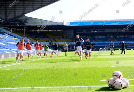 General view during the warm up before the English Premier League soccer match between Leeds United and Fulham at Elland Road Stadium, in Leeds, England