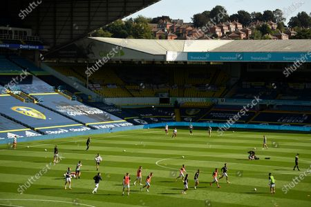 Stock Image of General view during the warm up before the English Premier League soccer match between Leeds United and Fulham at Elland Road Stadium, in Leeds, England