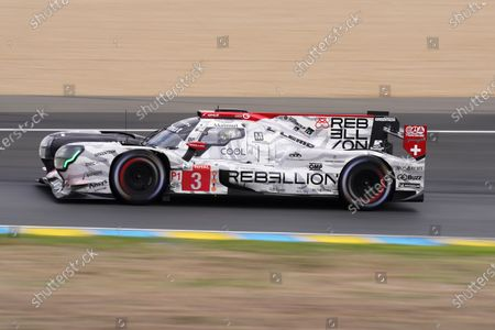 Rebellion Racing (starting no.3) in a Rebellion R13 Gibson with Romain Dumas of France, Nathanel Berthon of France and Louis Deletraz of Switzerland in action during the Le Mans 24 Hours race in Le Mans, France, 19 September 2020. The race is scheduled to finish at 2.30 pm local time on 20 September.