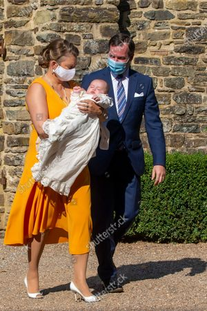 Hereditary Grand Duchess Stephanie (L) of Luxembourg and Hereditary Grand Duke Guillaume (R) of Luxembourg with their son Prince Charles of Luxembourg (C) arrive for the baptism of Prince Charles at the Benedictine Abbey of Saint-Maurice in Clervaux, Luxembourg, 19 September 2020. HRH Prince Charles Jean Philippe Joseph Marie Guillaume of Luxembourg was born on 10 May 2020 in Luxembourg