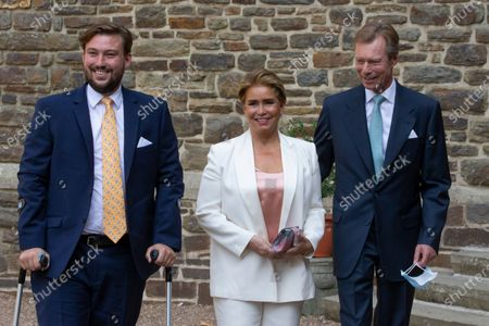 (L-R) Prince Sebastien of Luxembourg, Grand Duchess Maria Teresa of Luxembourg and Grand Duke Henri of Luxembourg arrive for the baptism of Prince Charles of Luxembourg at the Benedictine Abbey of Saint-Maurice in Clervaux, Luxembourg, 19 September 2020. HRH Prince Charles Jean Philippe Joseph Marie Guillaume of Luxembourg was born on 10 May 2020 in Luxembourg