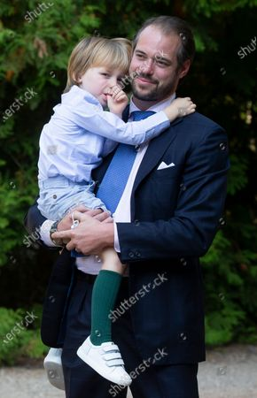 Prince Felix of Luxembourg and his son Prince Liam arrive for the baptism of Prince Charles of Luxembourg at the Benedictine Abbey of Saint-Maurice in Clervaux, Luxembourg, 19 September 2020. HRH Prince Charles Jean Philippe Joseph Marie Guillaume of Luxembourg was born on 10 May 2020 in Luxembourg