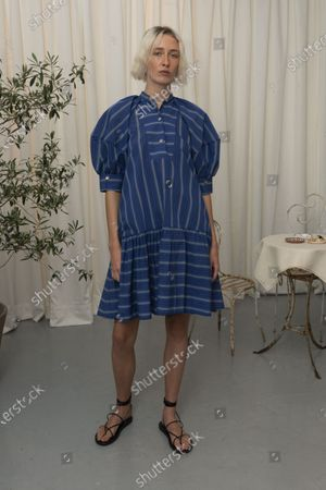 Stock Picture of A Model wearing an outfit from the Womens Ready to wear, pret a porter, collections, summer 2021, original creation, during the Womenswear Fashion Week in London, from the house of Eudon Choi