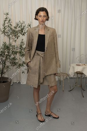 A Model wearing an outfit from the Womens Ready to wear, pret a porter, collections, summer 2021, original creation, during the Womenswear Fashion Week in London, from the house of Eudon Choi