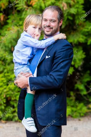 Prince Felix and Prince Liam of Luxembourg during the christening of Prince Charles of Luxembourg, at Abbaye Saint-Maurice in Clervaux, Luxembourg.