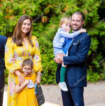 Prince Felix and Princess Claire of Luxembourg with their children Princess Amalia and Prince Liam during the christening of Prince Charles of Luxembourg, at Abbaye Saint-Maurice in Clervaux, Luxembourg.
